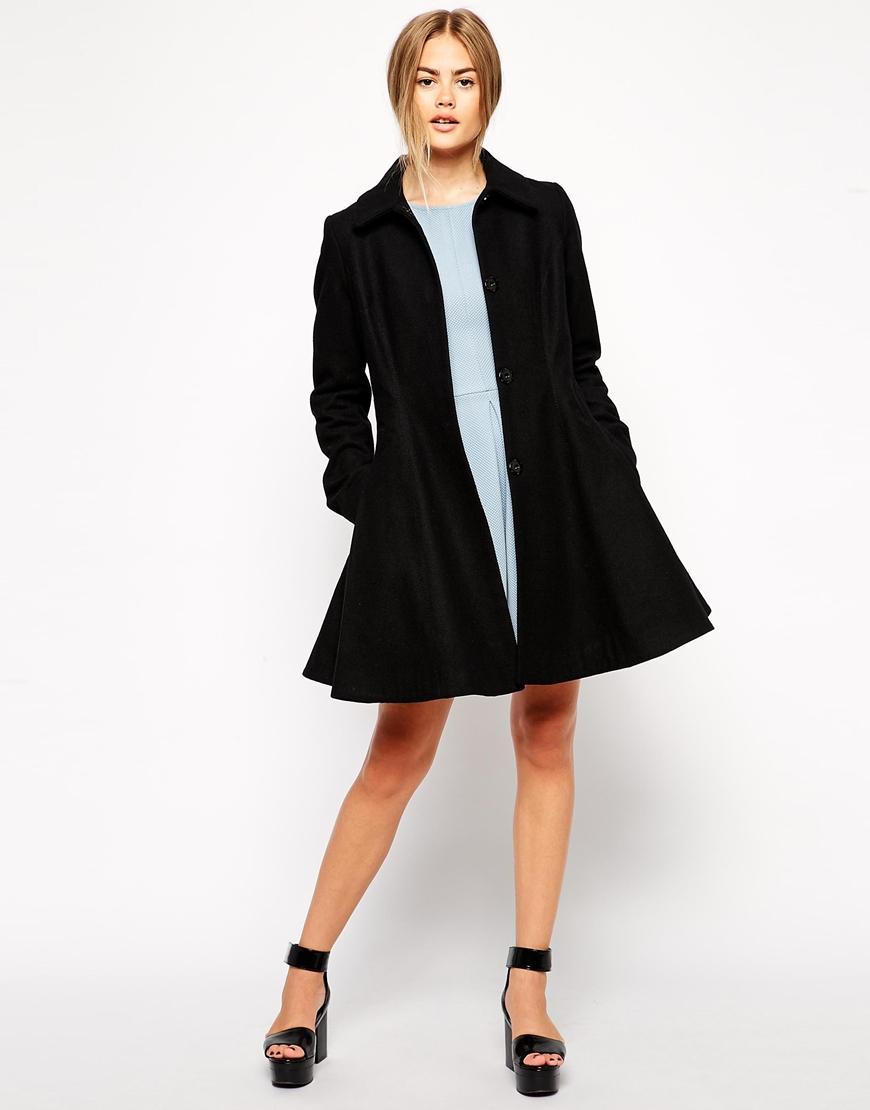 Asos Dolly Skater Coat in Black | Lyst