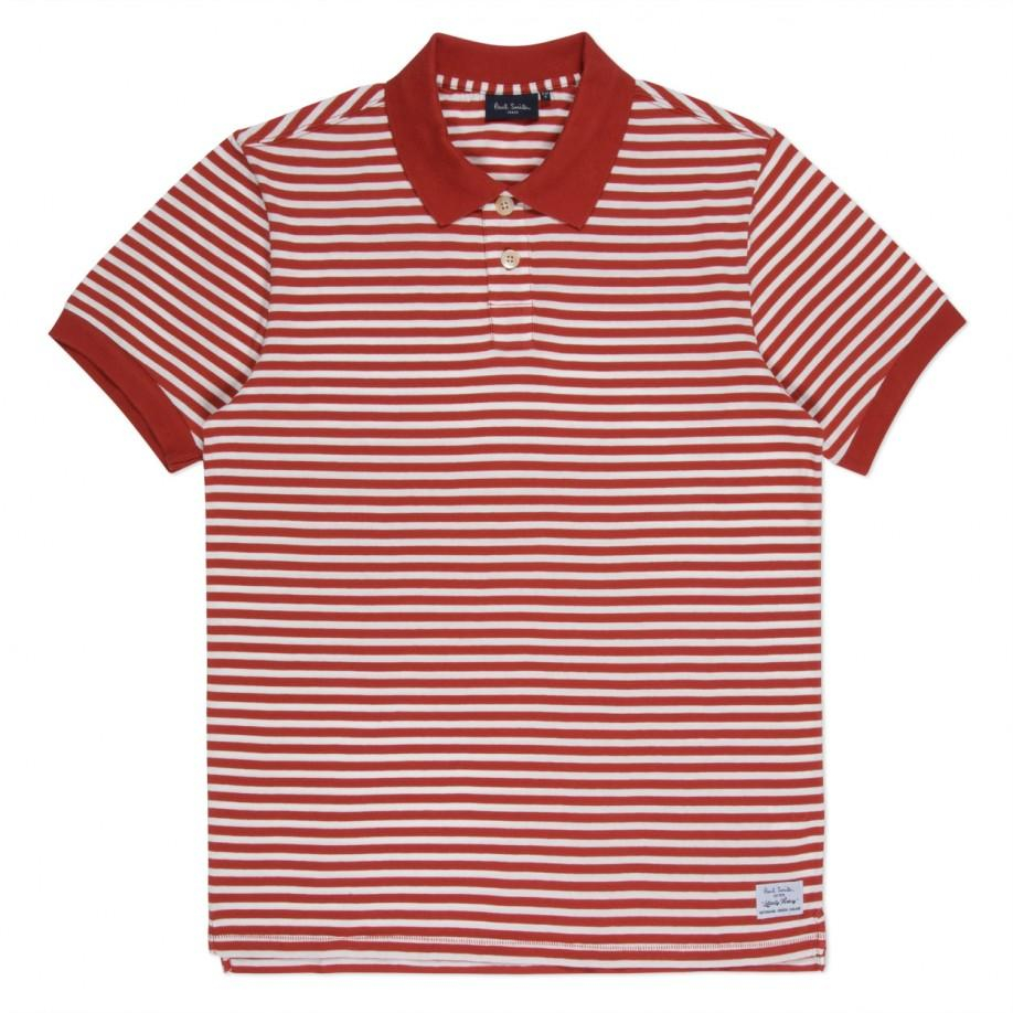Paul smith men 39 s red and white stripe cotton polo shirt in for Red white striped polo shirt