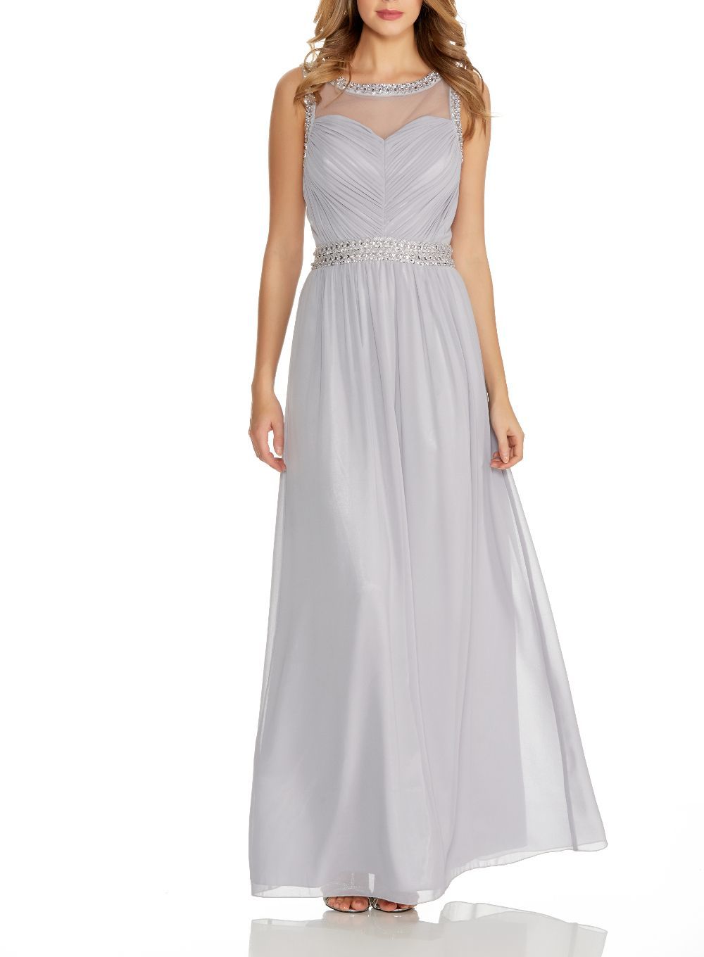 Quiz Grey Mesh Embroidered Maxi Dress in Gray