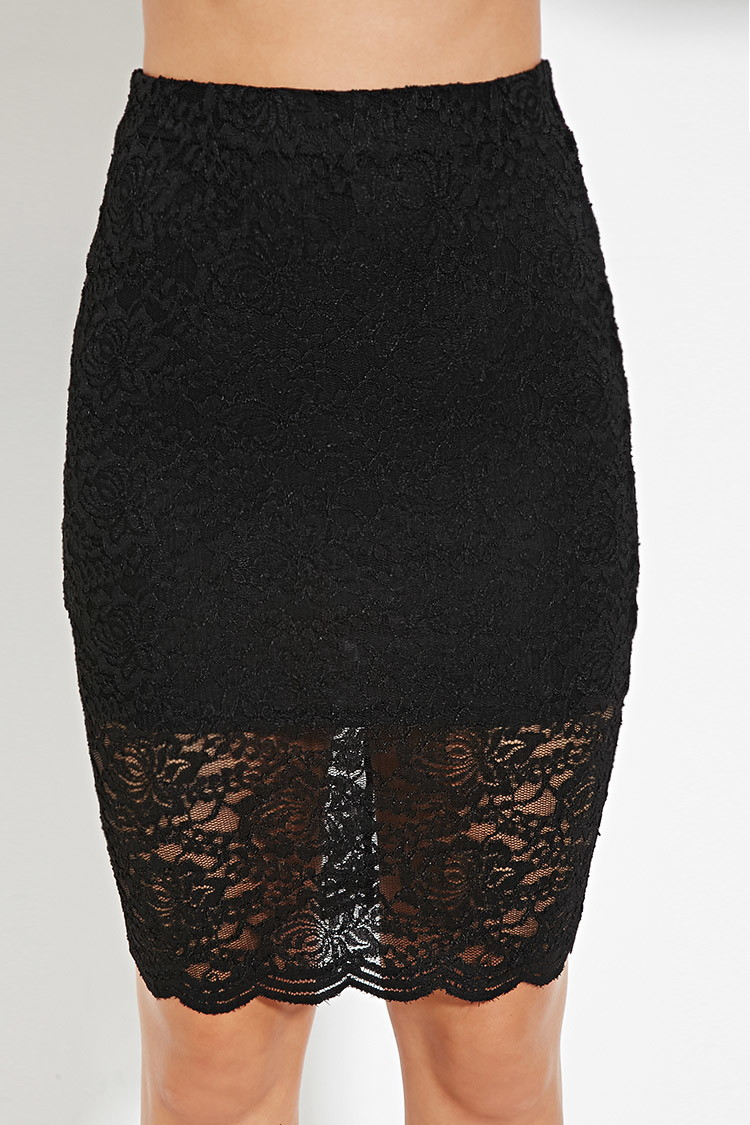 forever 21 lace pencil skirt in black lyst