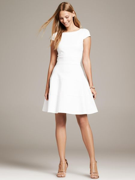 Banana Republic Seamed Fit And Flare Dress In White Lyst