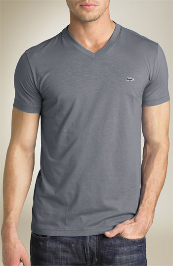 Lyst - Lacoste Pima Cotton Jersey V-neck T-shirt in Gray for Men
