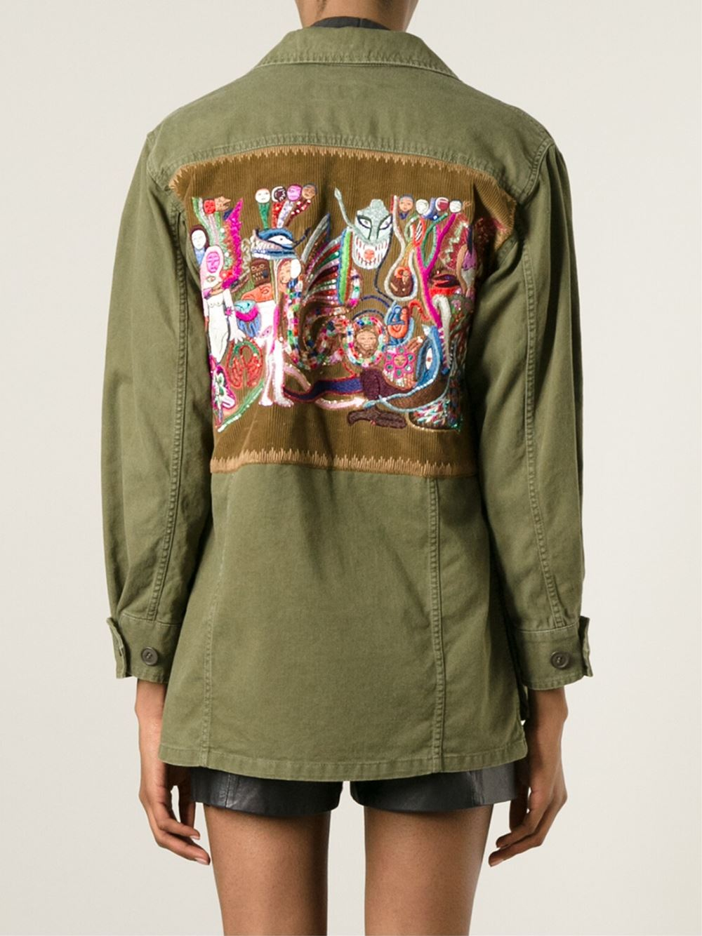 Saint laurent embroidered military jacket in green lyst