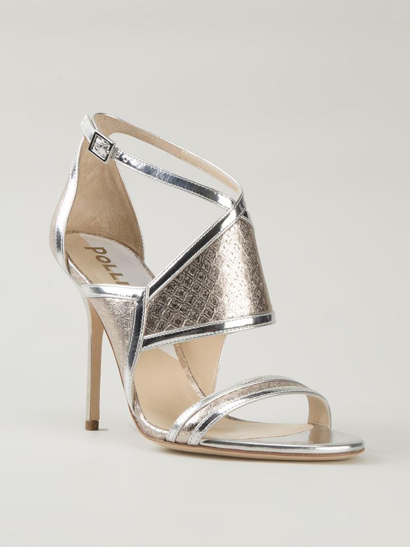 Lyst Pollini High Stiletto Heel Sandals In Metallic