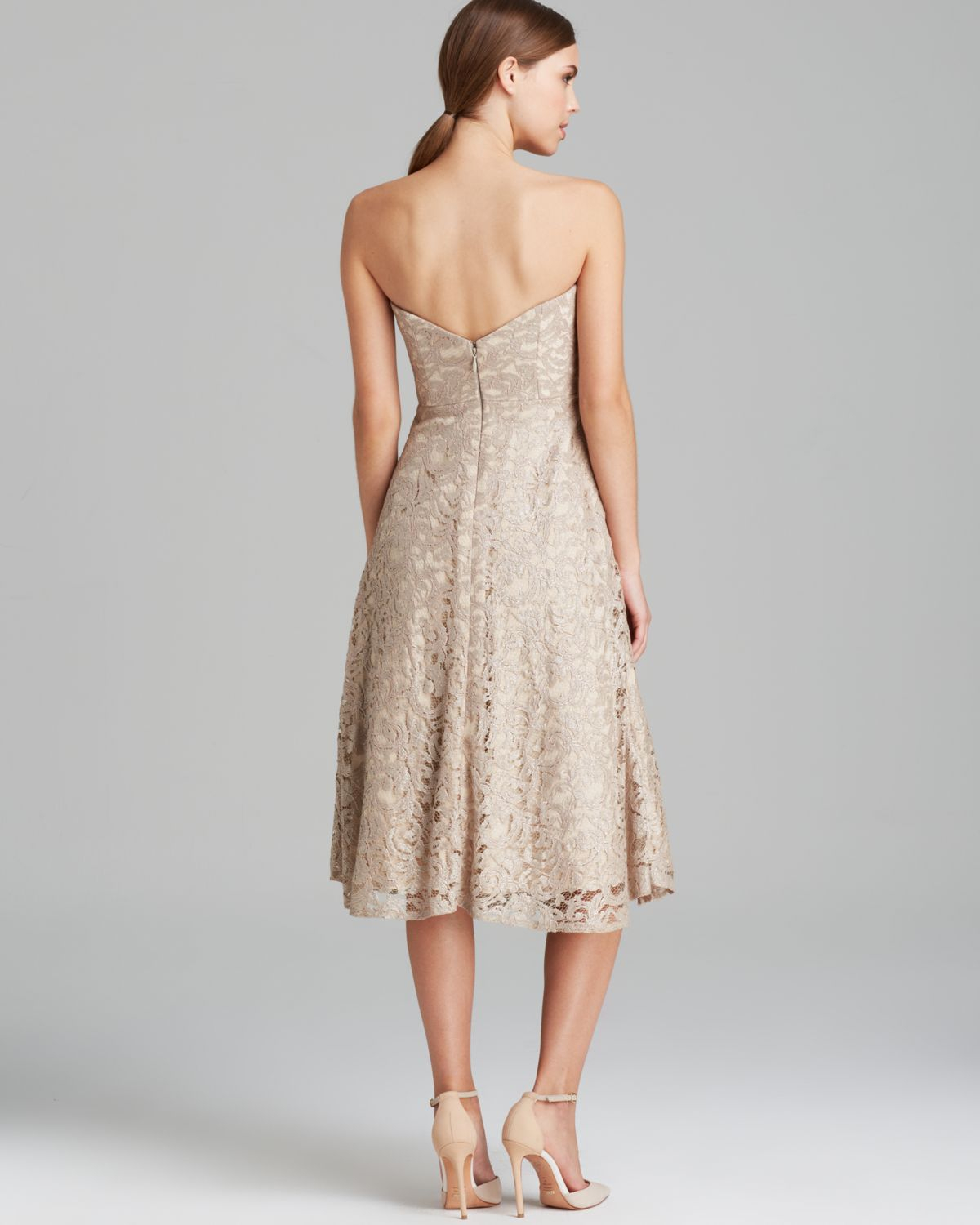 tea length sweater dresses lyst nicole miller dress strapless lace tealength in natural 2579