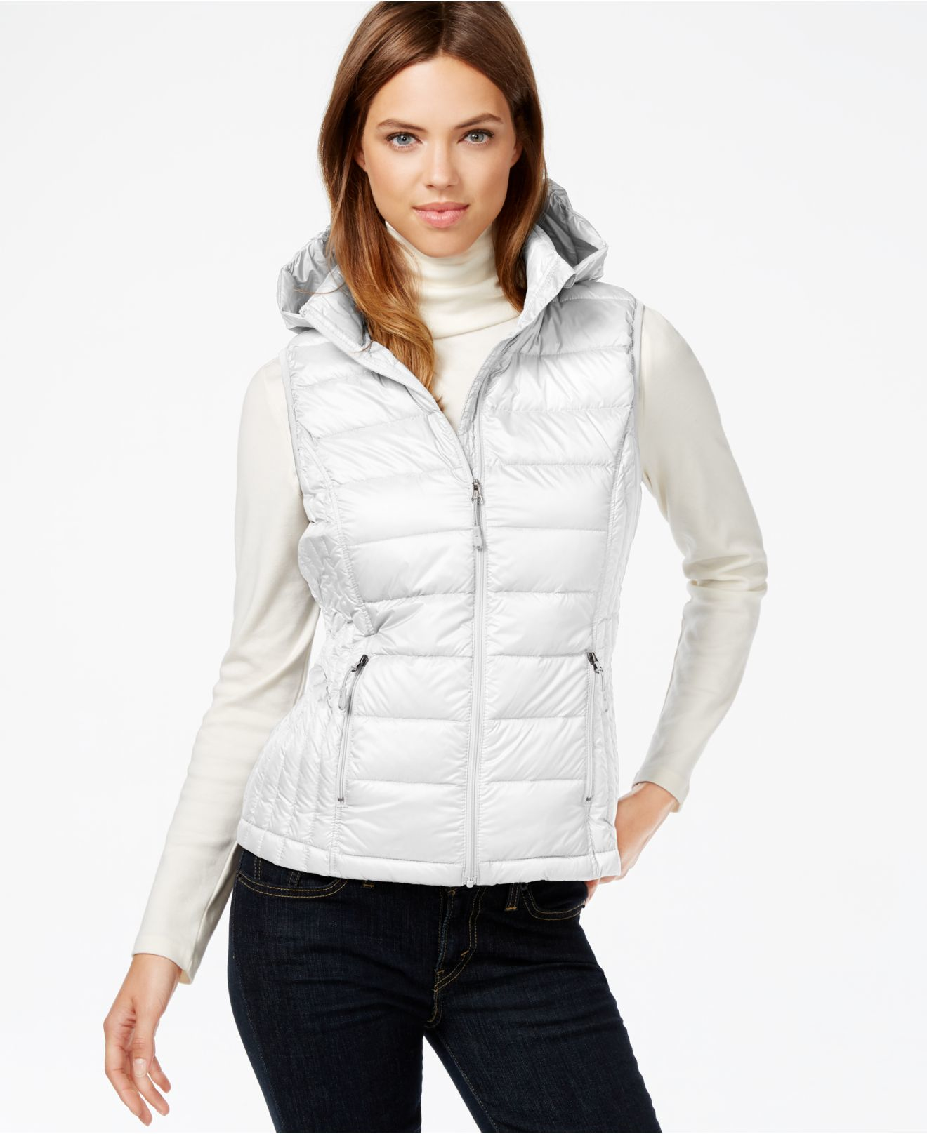 32 Degrees Hooded Packable Down Vest In White Lyst
