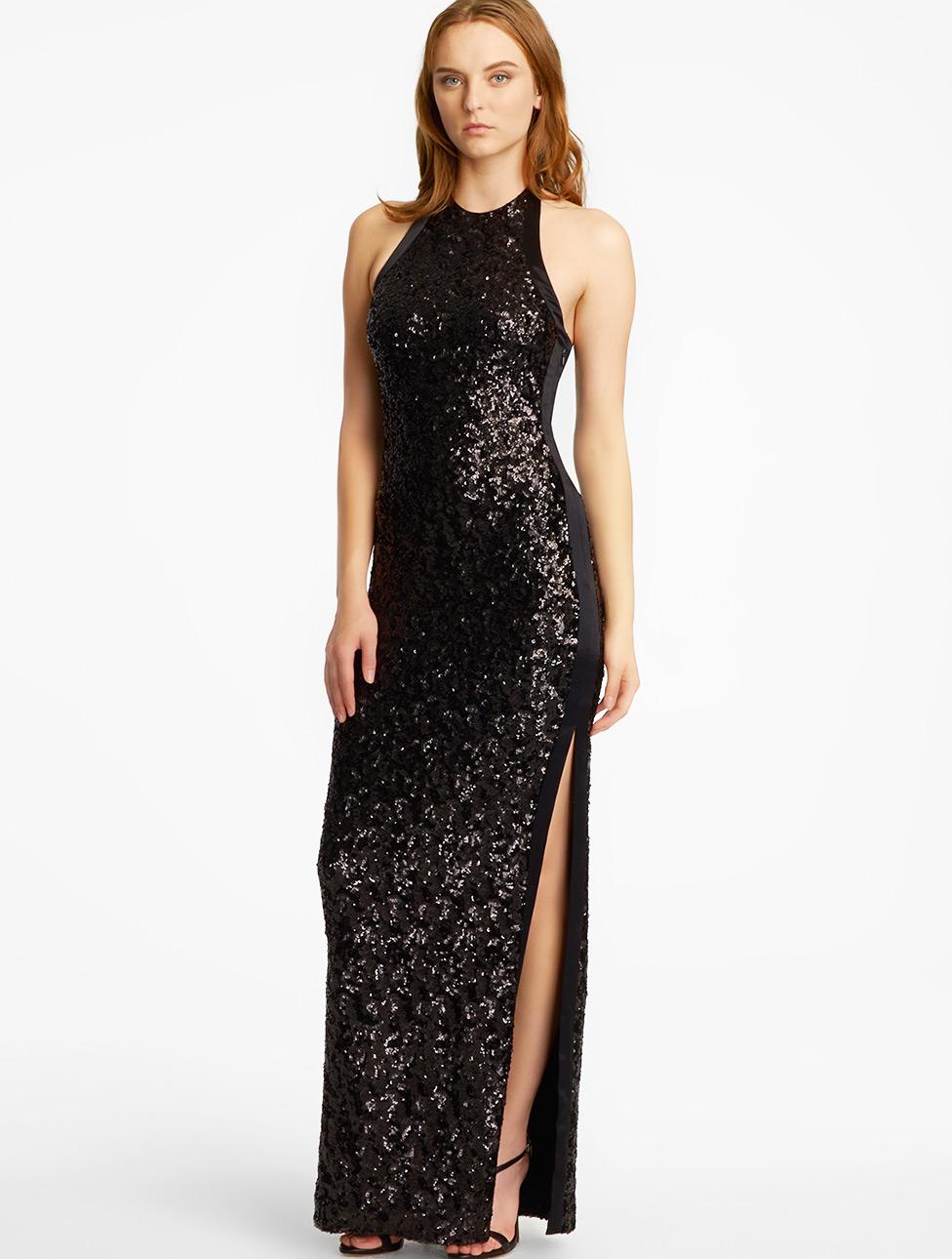 Halston Sequin Halter Gown in Black - Lyst