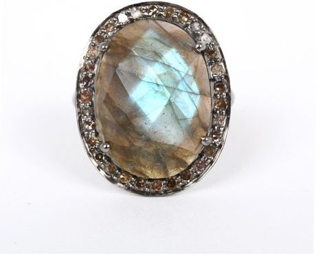 adornia gemstone and chagne perry ring in gray