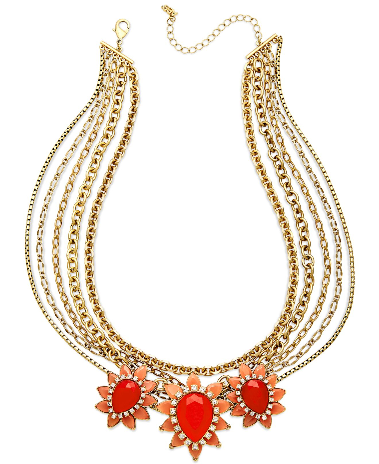 Abs By Allen Schwartz Gold-tone Coral-color Stone