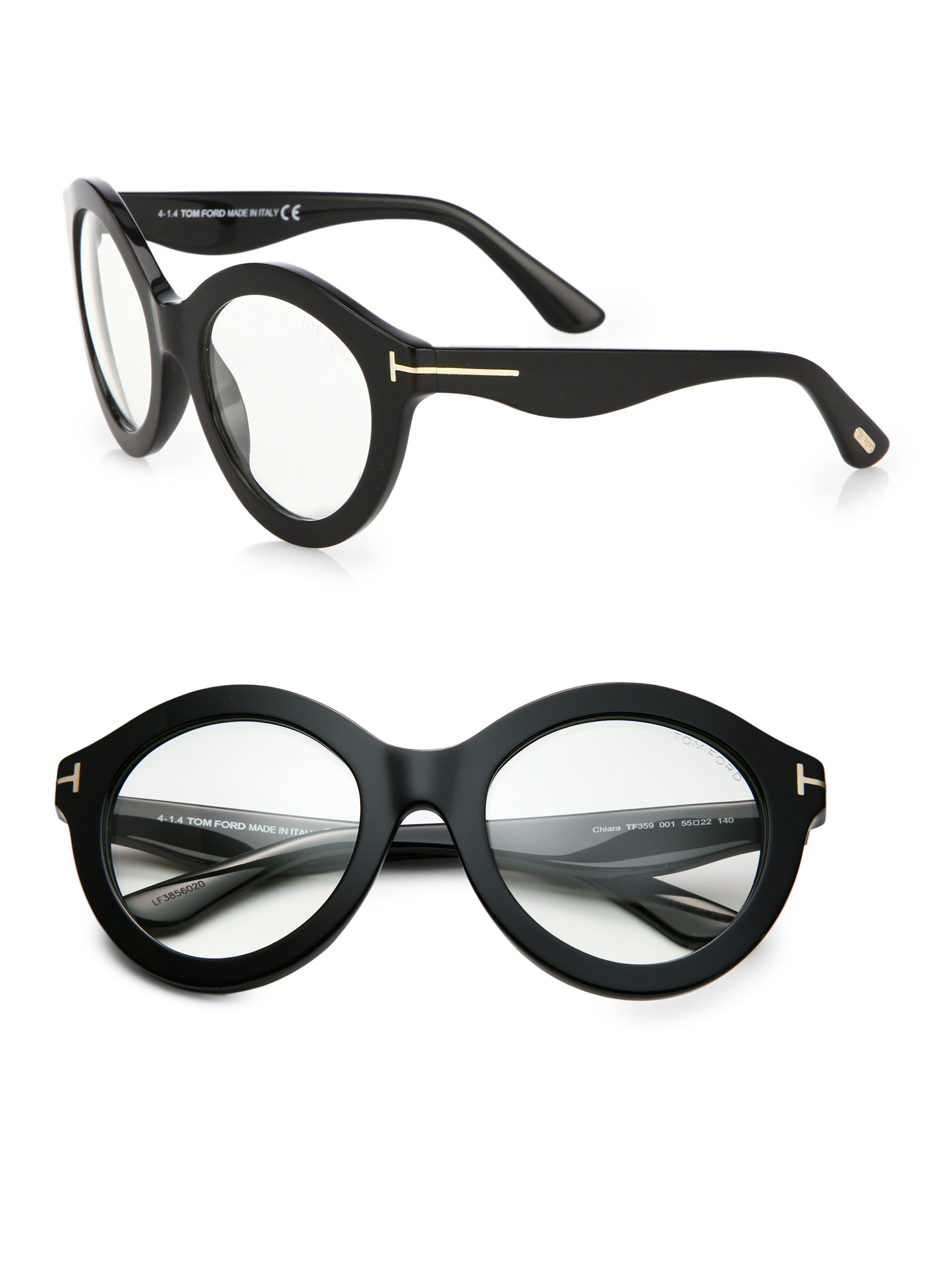 Tom Ford Exaggerated 55mm Round Optical Glasses In Black