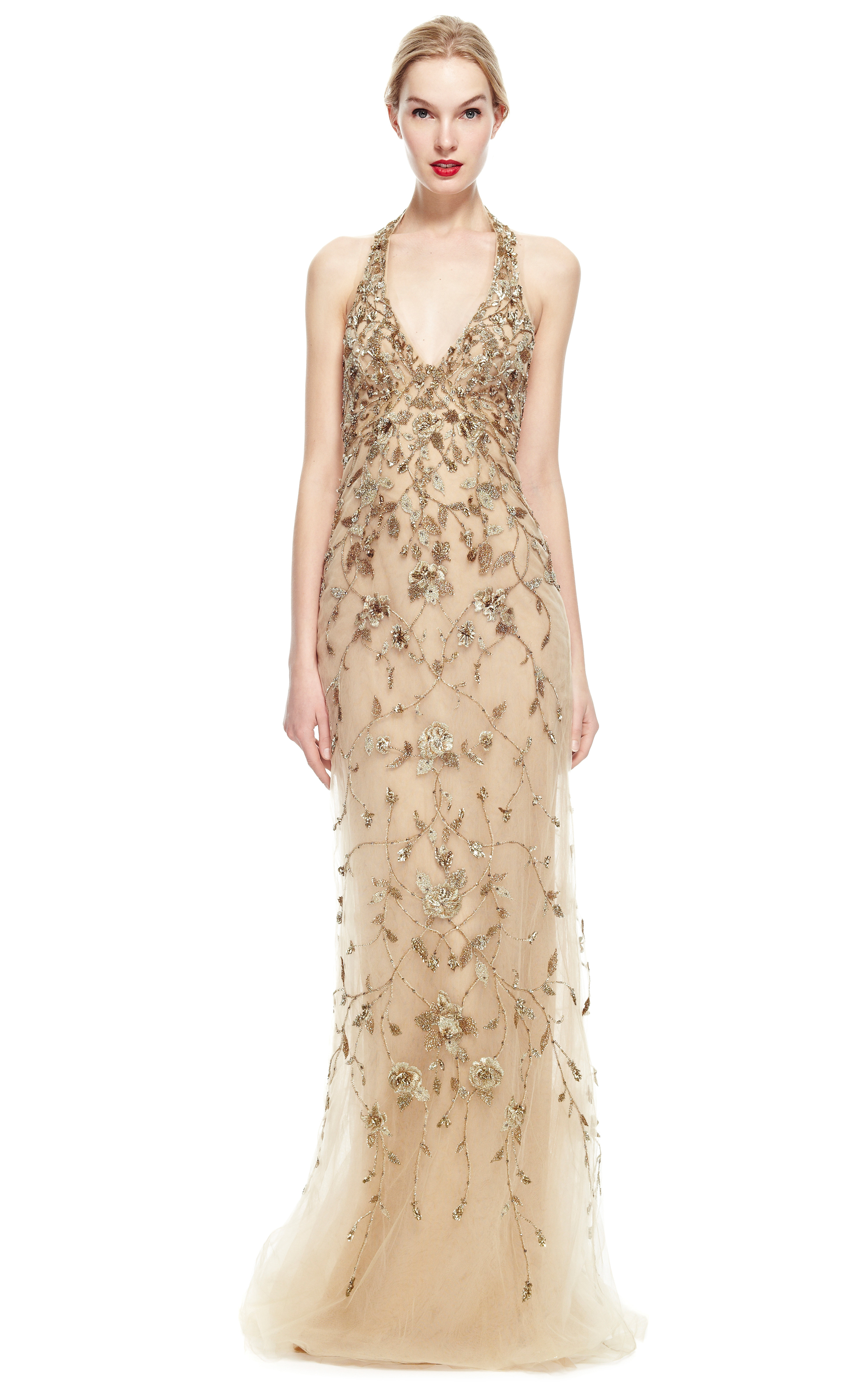 Marchesa Embroidered Floral Halter Neck Gown In Metallic Lyst
