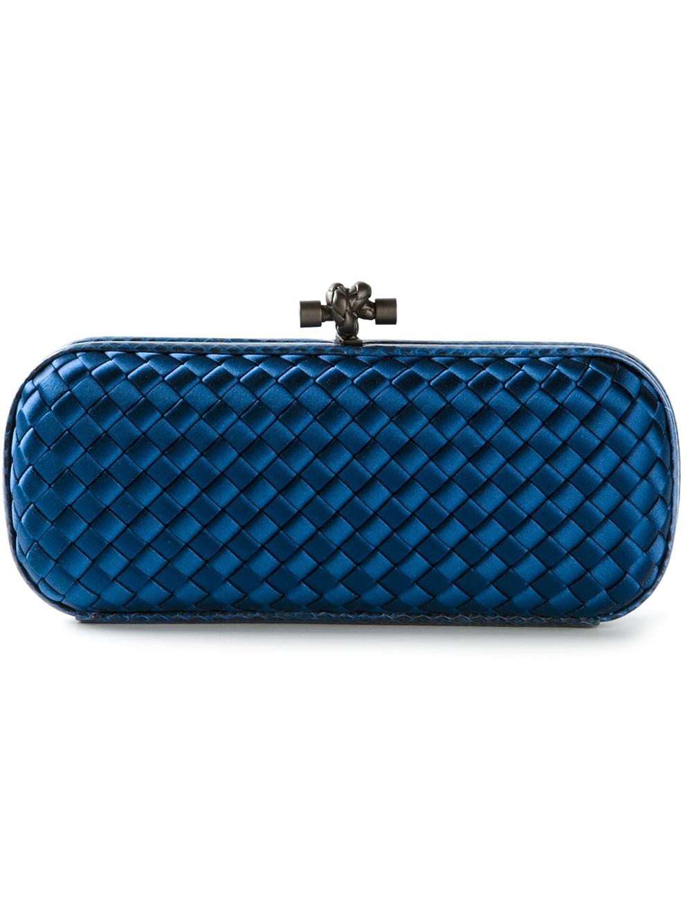 bottega veneta intrecciato clutch in blue lyst. Black Bedroom Furniture Sets. Home Design Ideas