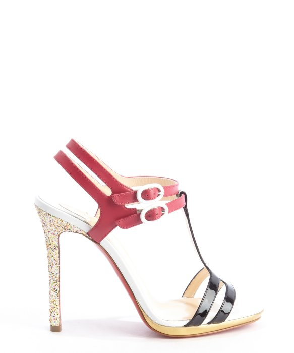 christian louboutin sandals Pewter metallic leather block heels ...