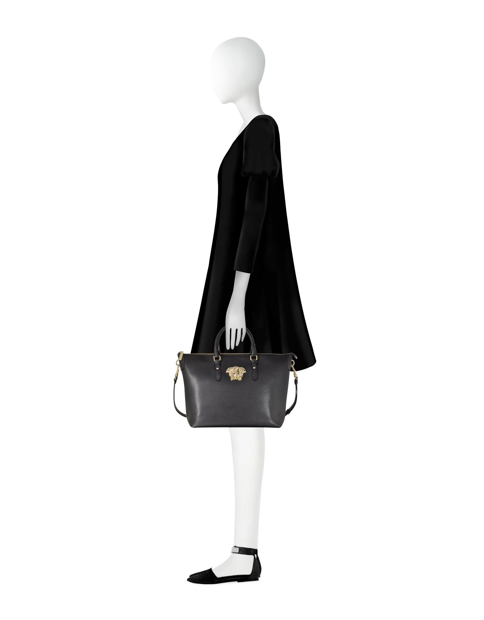 Versace Palazzo Small Black Leather Tote Bag in Black | Lyst