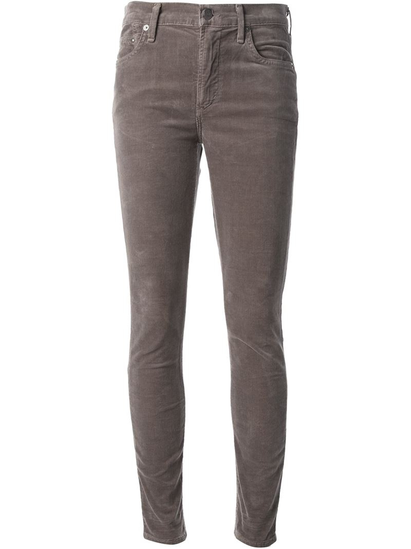 Citizens Of Humanity Skinny Corduroy Trousers In Gray Lyst