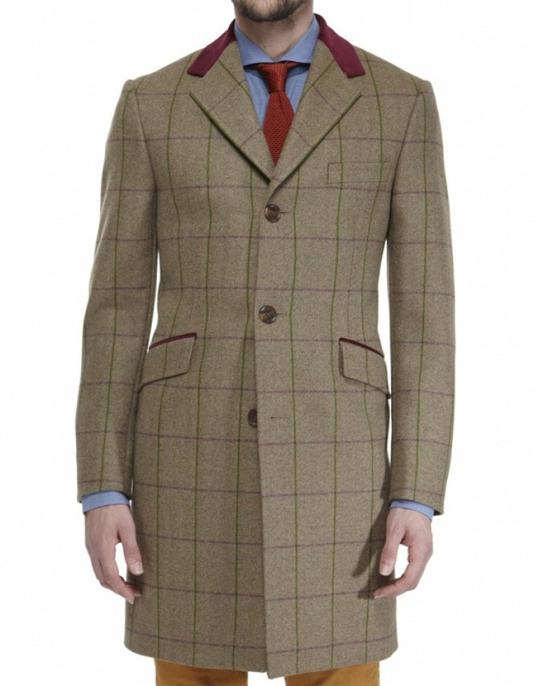 jules b wool tweed overcoat in green for men lyst. Black Bedroom Furniture Sets. Home Design Ideas