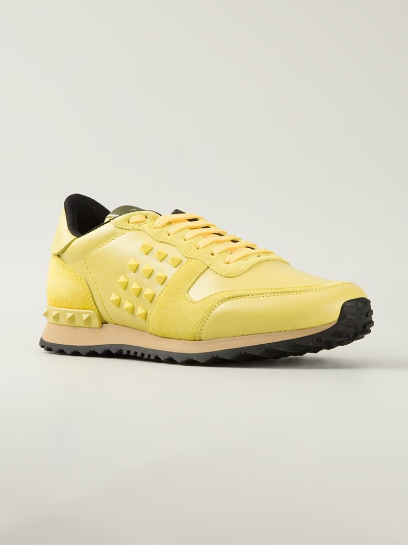 c7a867fce3e1 Lyst - Valentino  rockrunner  Sneakers in Yellow for Men