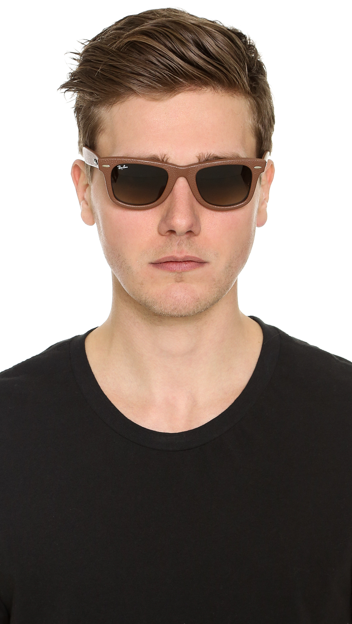 7909d71f8e ... reduced lyst ray ban leather wrapped wayfarer sunglasses in brown for  men 94b7d 9e4d7 ...