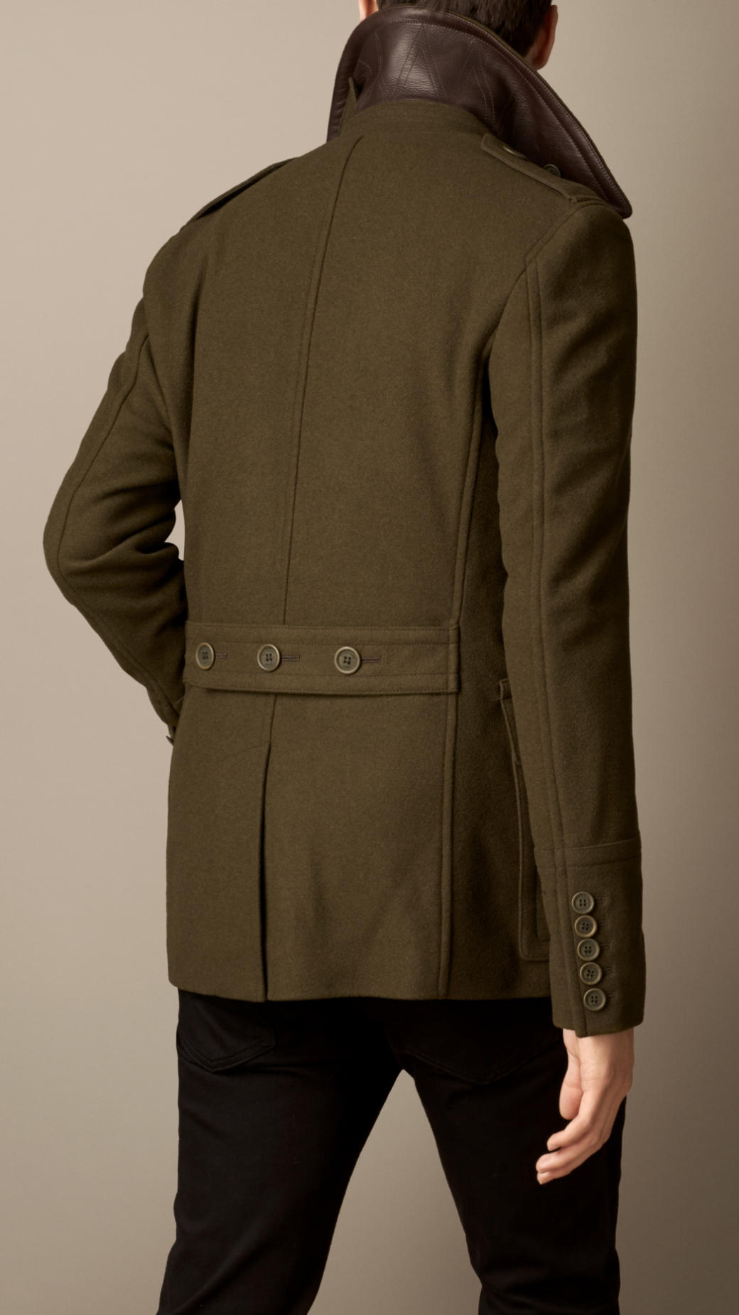 Burberry Wool Cashmere Pea Coat in Green for Men | Lyst
