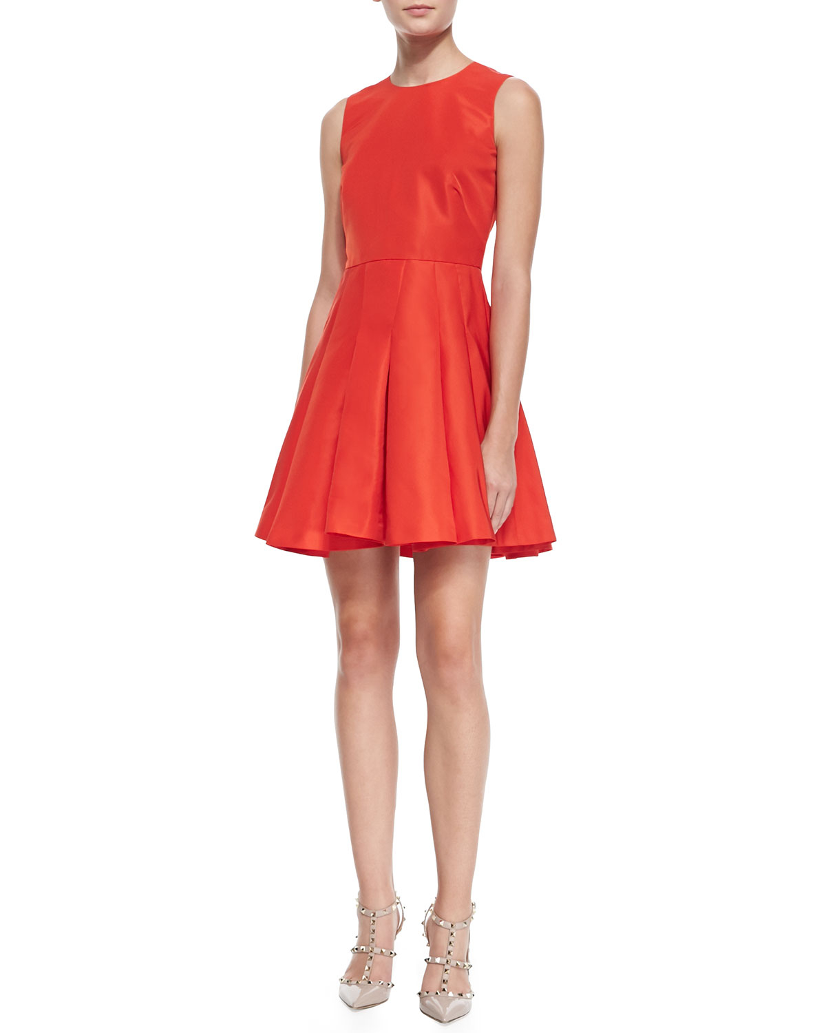 valentino sleeveless dress with pleated skirt in