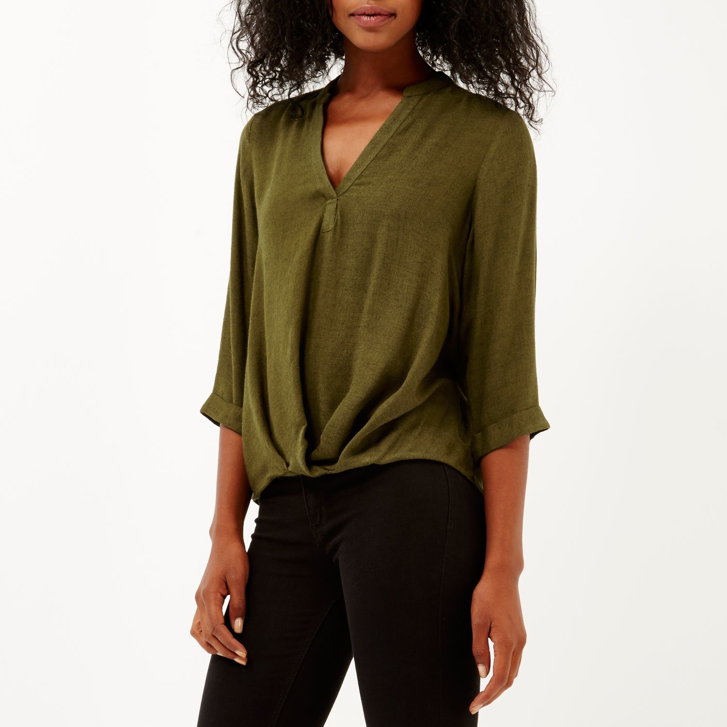62850f74fa3a1d ... River Island Khaki Green Wrap Front V neck Blouse in Green Lyst