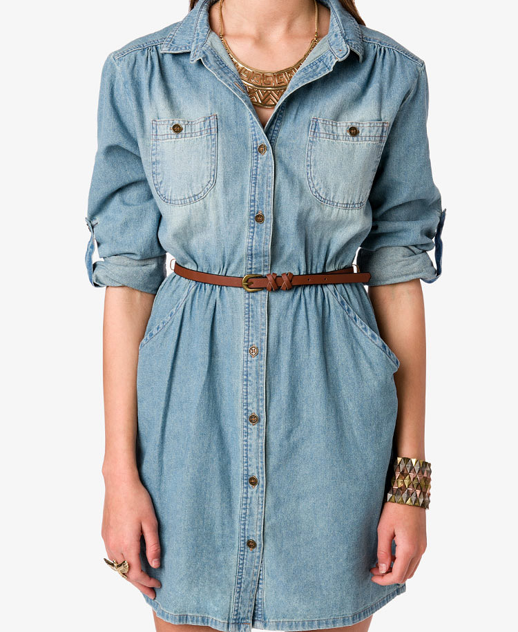 forever 21 denim dress w belt in blue lyst