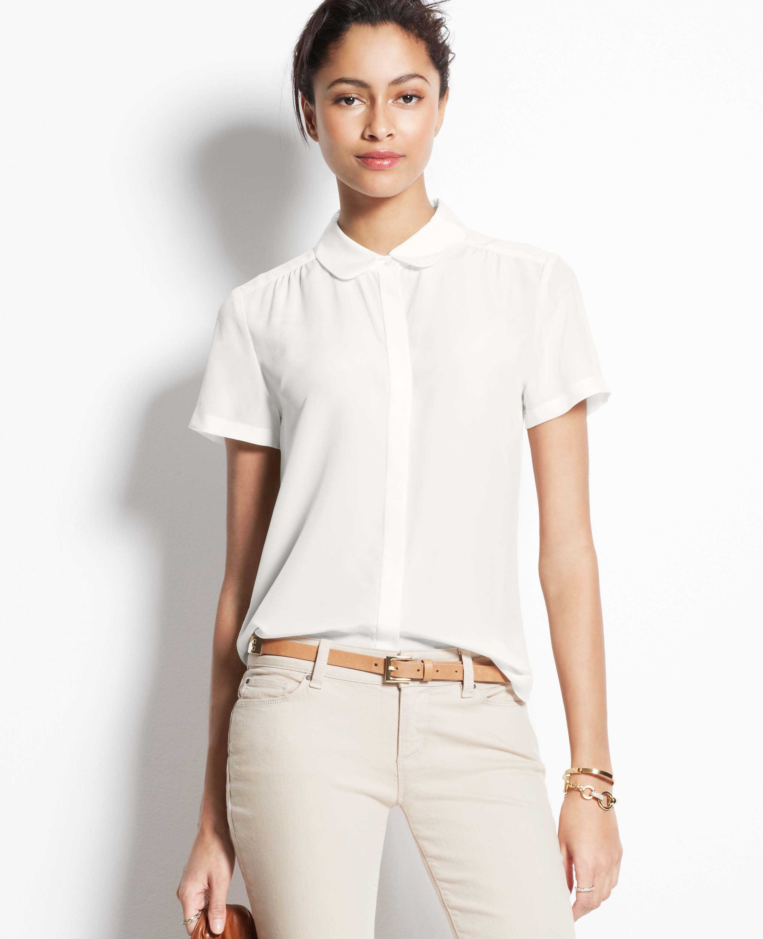 Ann taylor Silk Short Sleeve Blouse in White | Lyst