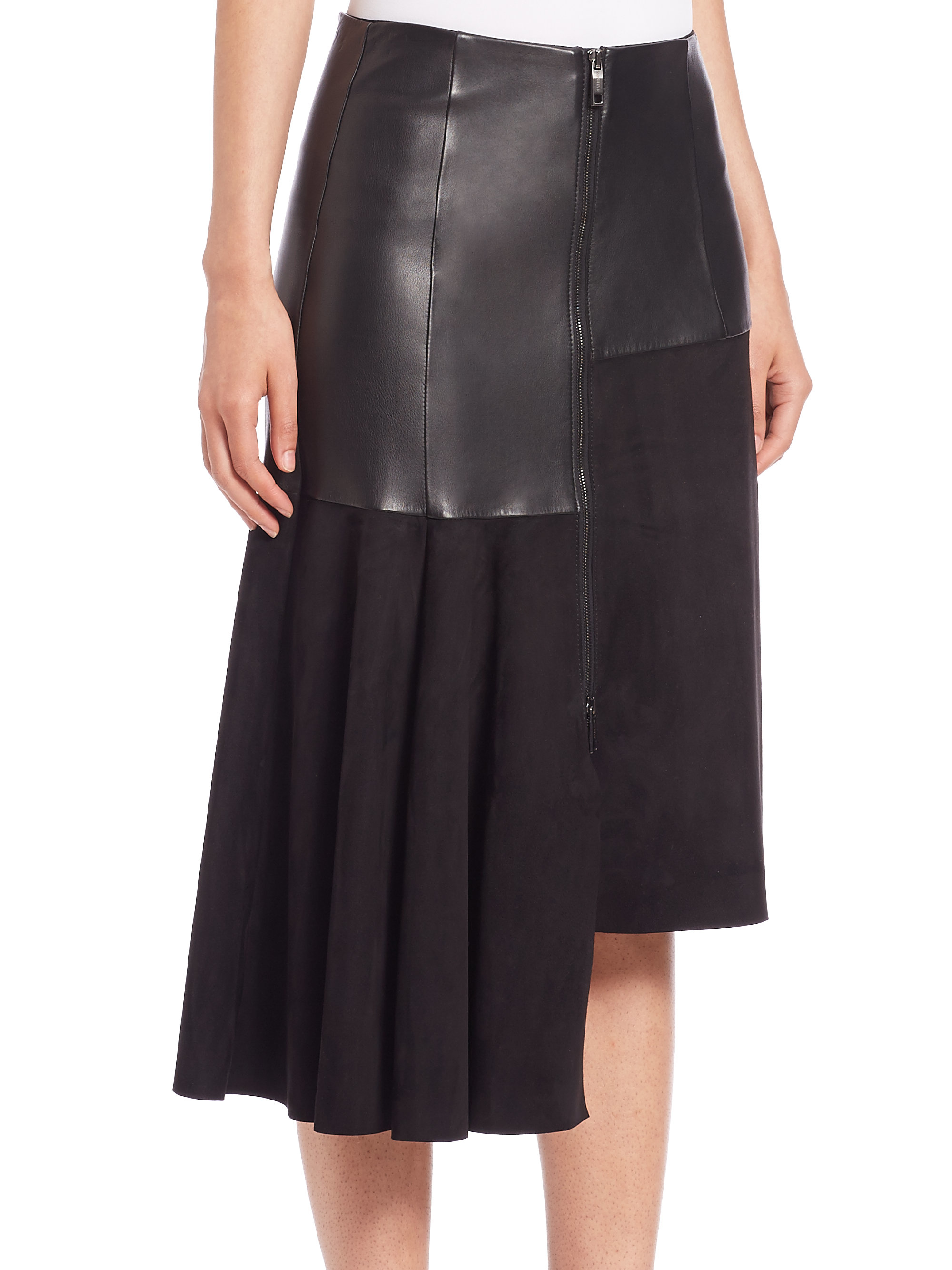 Sportmax Kim Leather & Suede Asymmetrical Skirt in Black | Lyst