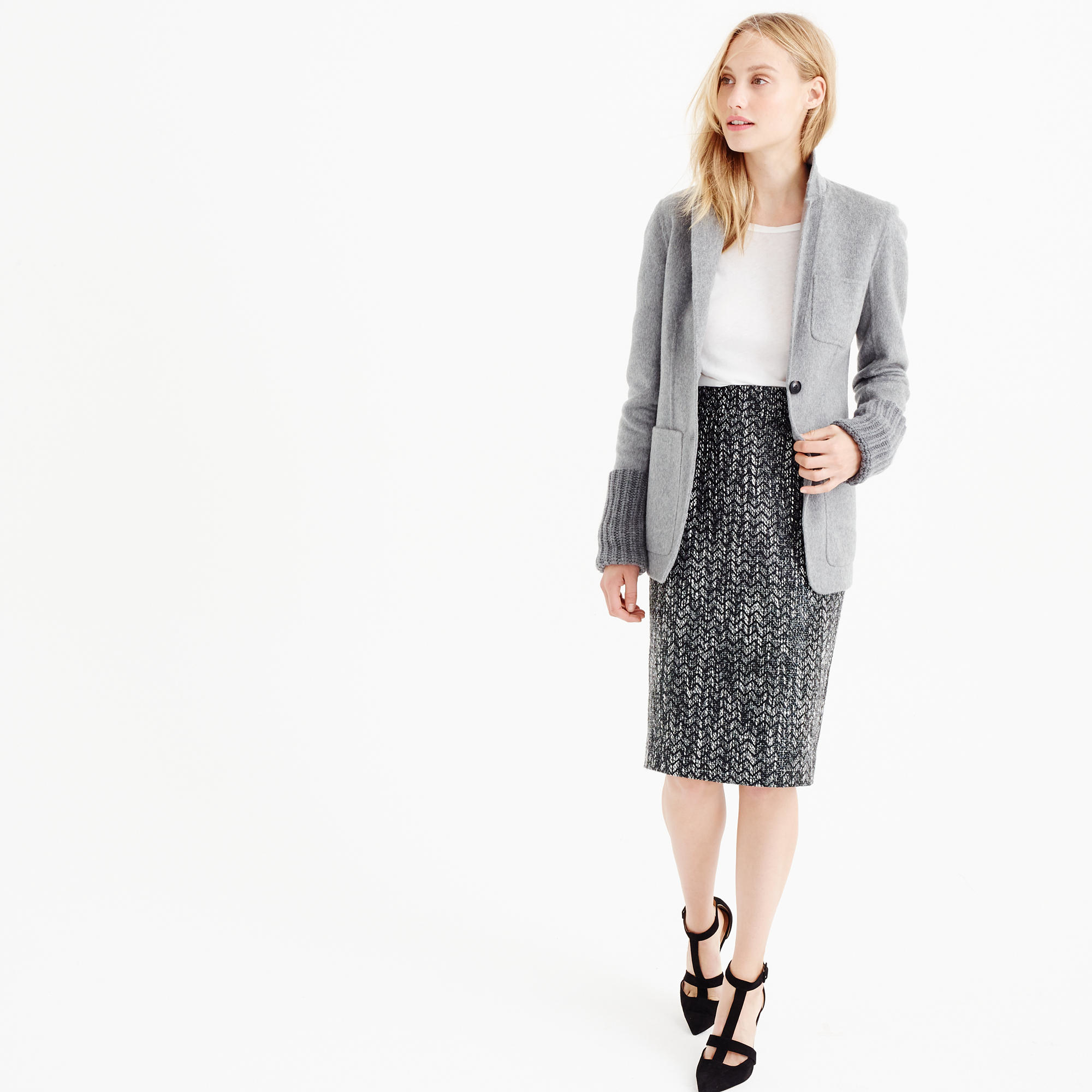 c6a2774df J.Crew Petite No. 2 Pencil Skirt In Holographic Tweed in Gray - Lyst
