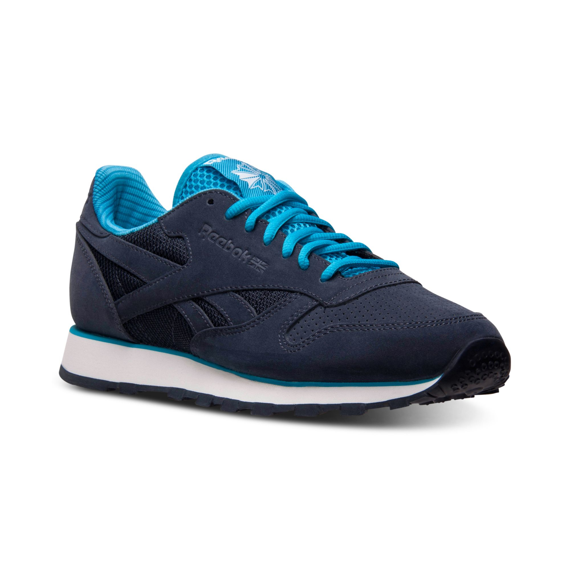 reebok mens classic leather tech casual sneakers from finish line in blue for men navy blue. Black Bedroom Furniture Sets. Home Design Ideas