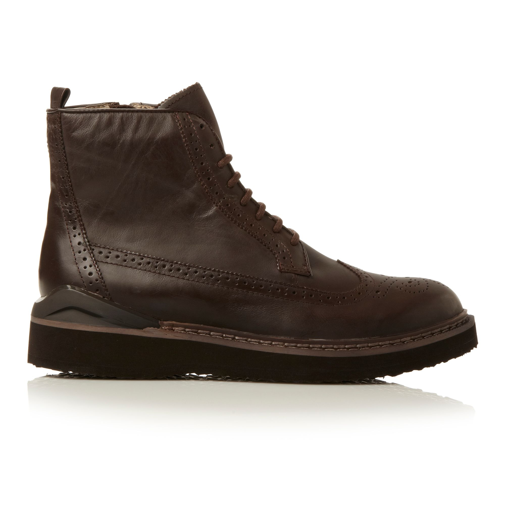steve madden chrome heavy sport brogue boot in brown for