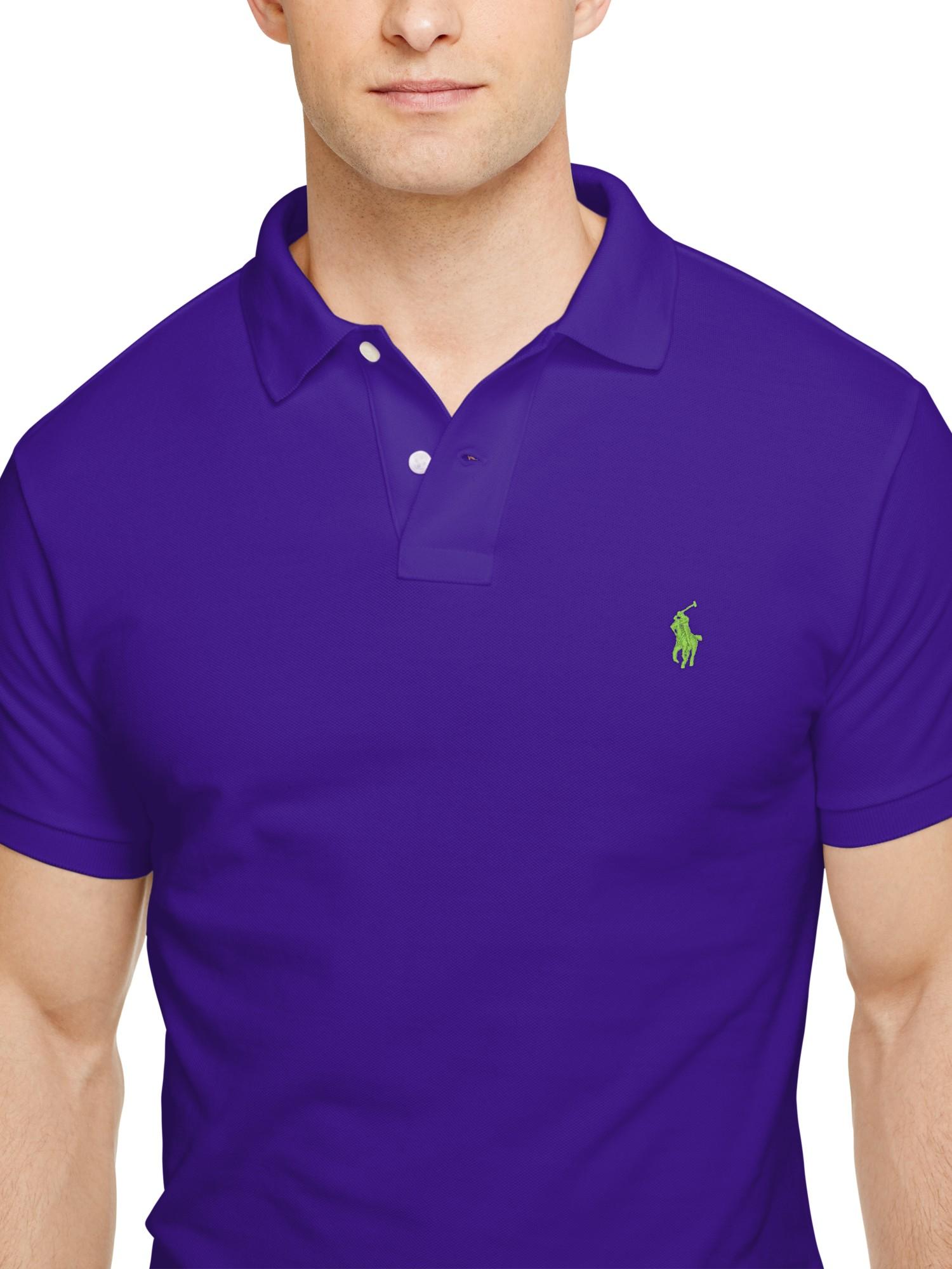 b7ad8aa4 ... italy polo ralph lauren wimbledon mesh polo shirt in purple for men lyst  6c53e 34b30