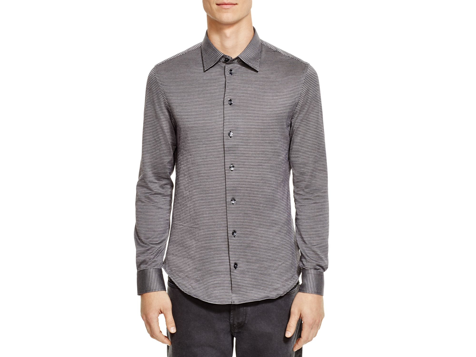 Lyst armani jacquard classic fit button down shirt in for Preppy button down shirts