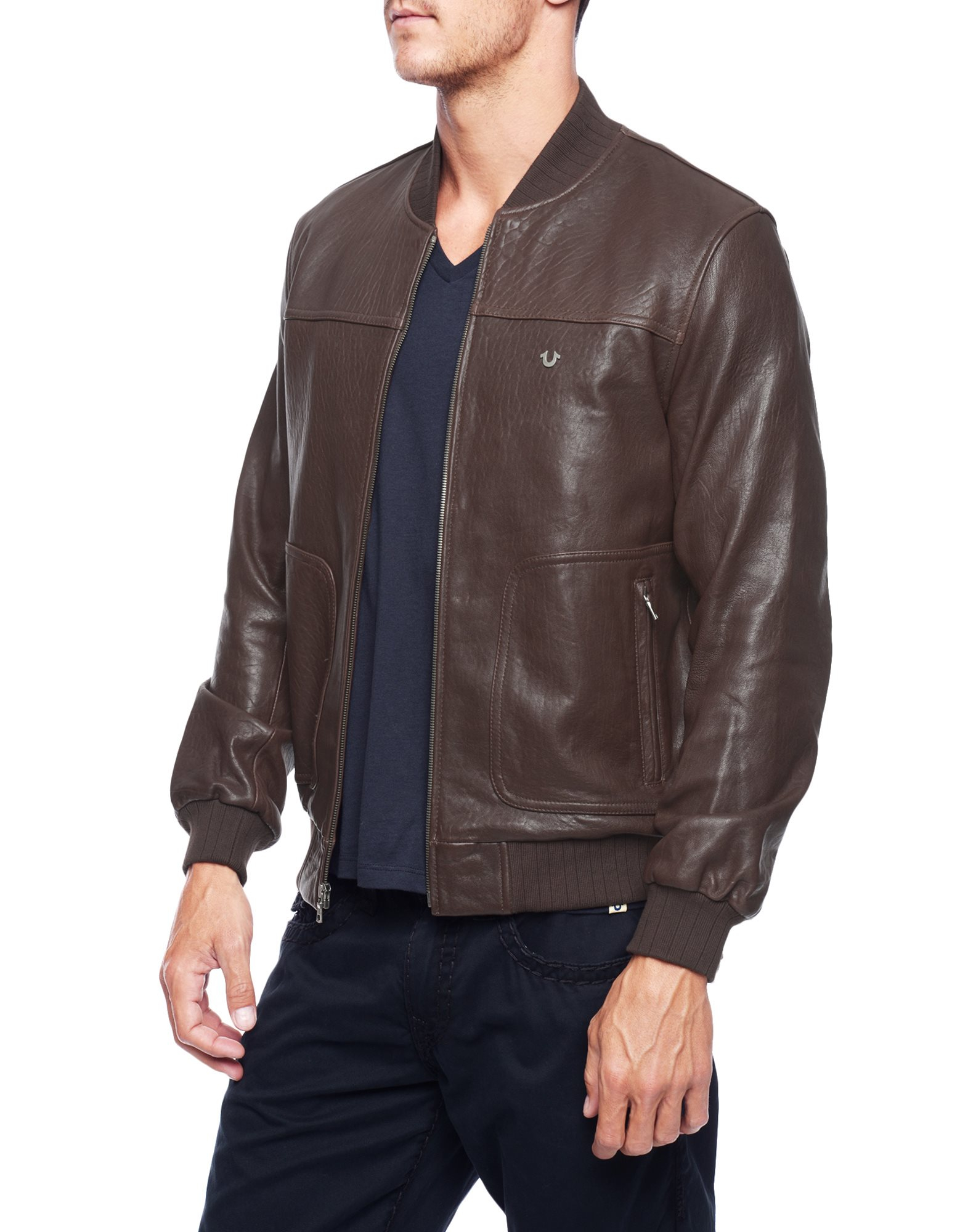 True religion Leather Baseball Mens Bomber Jacket in Brown for Men ...