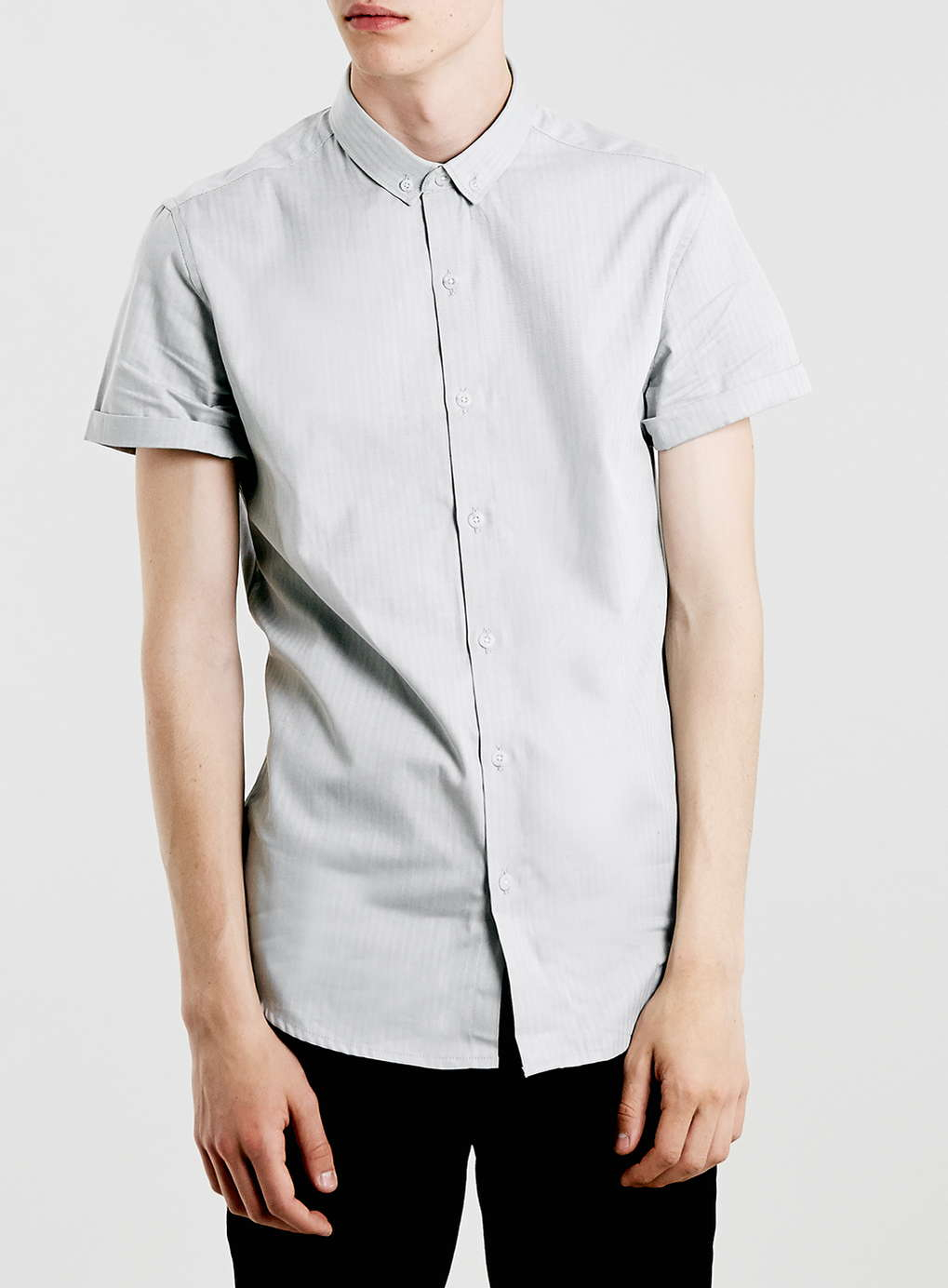 Topman light grey herringbone button down short sleeve for Grey button down shirt
