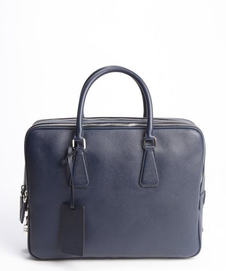 Prada Baltic Blue Saffiano Leather Small Travel Bag in Blue for Men ...