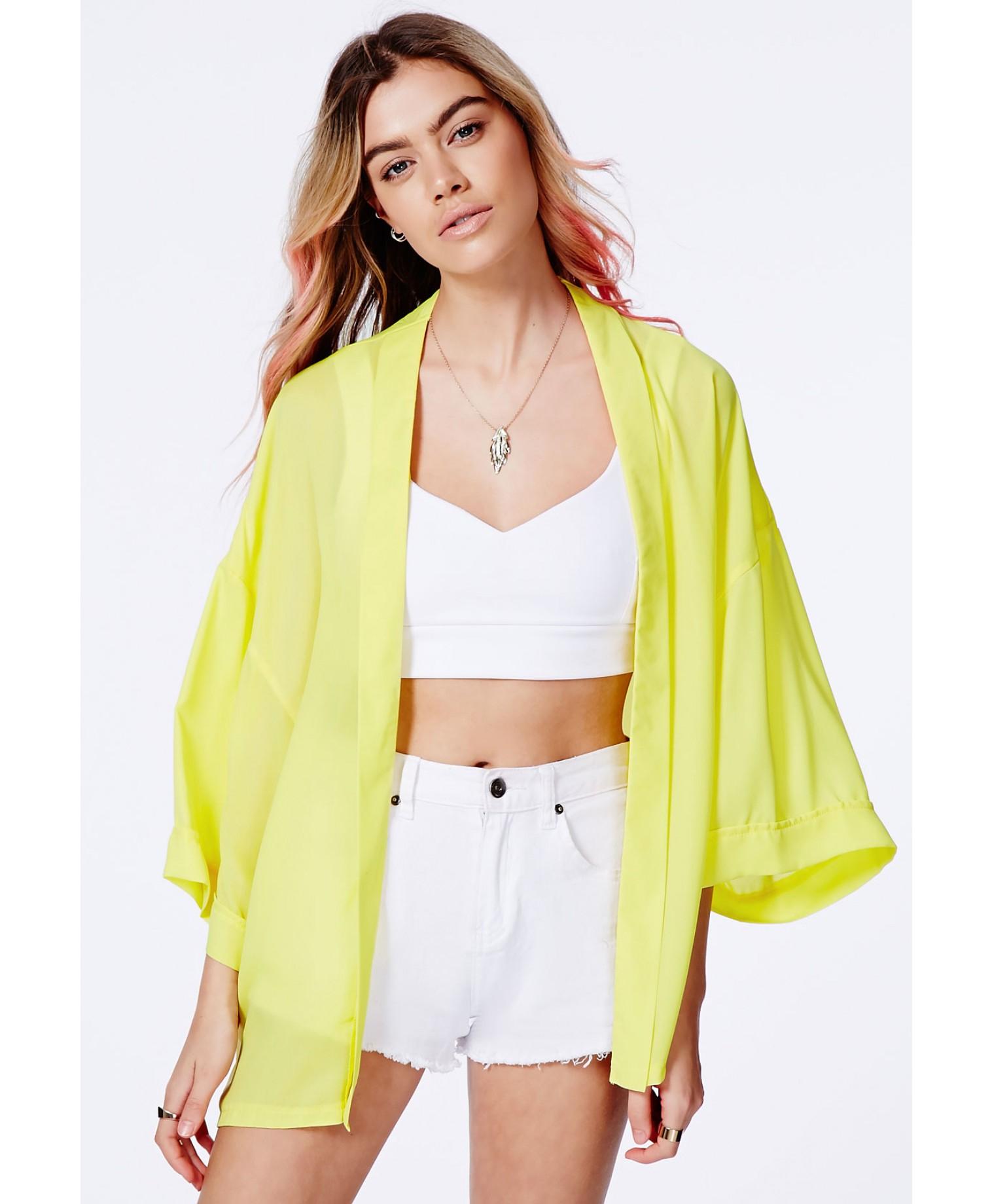 8407264cfd00f Lyst - Missguided Mima Yellow Kimono In Chiffon in Yellow