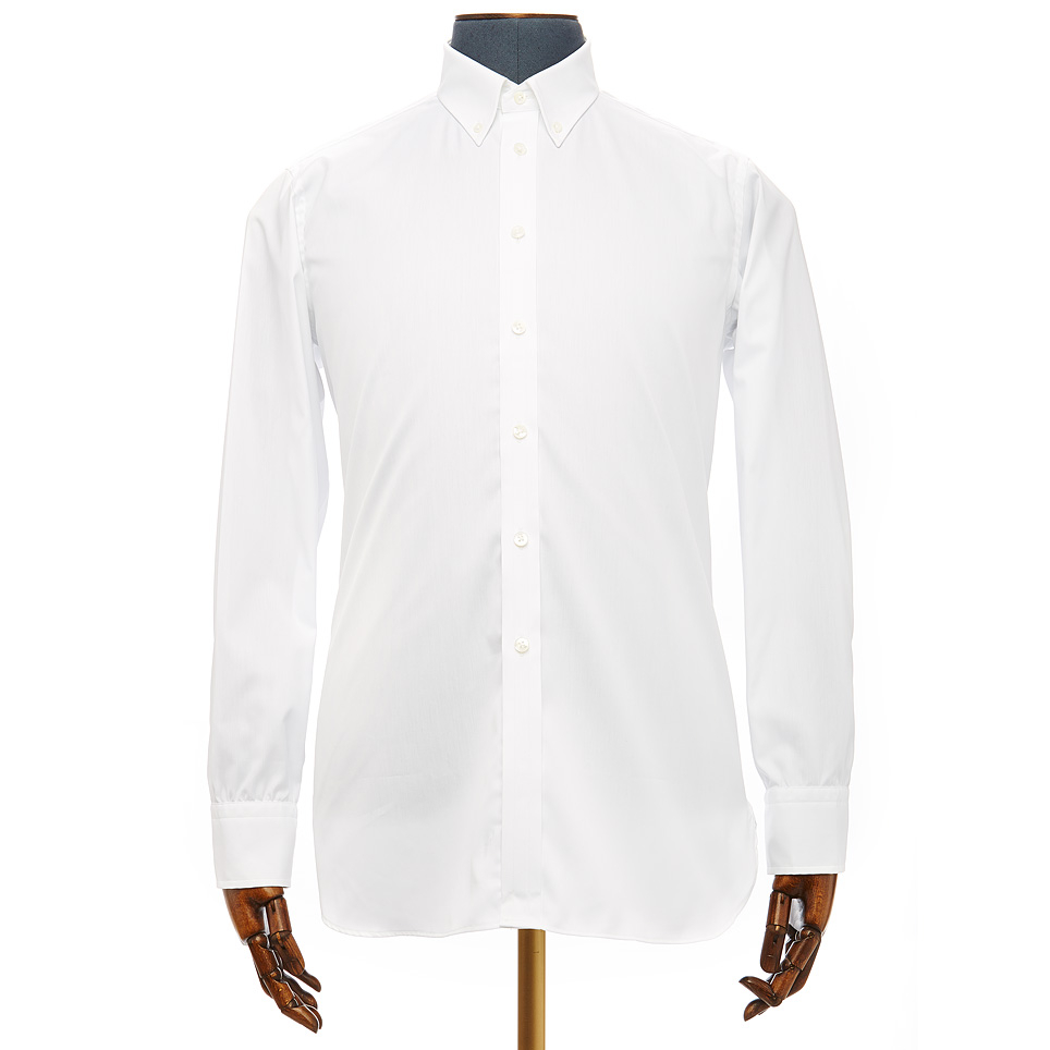 Turnbull asser slim fit plain white oxford shirt with for Mens white oxford button down shirt