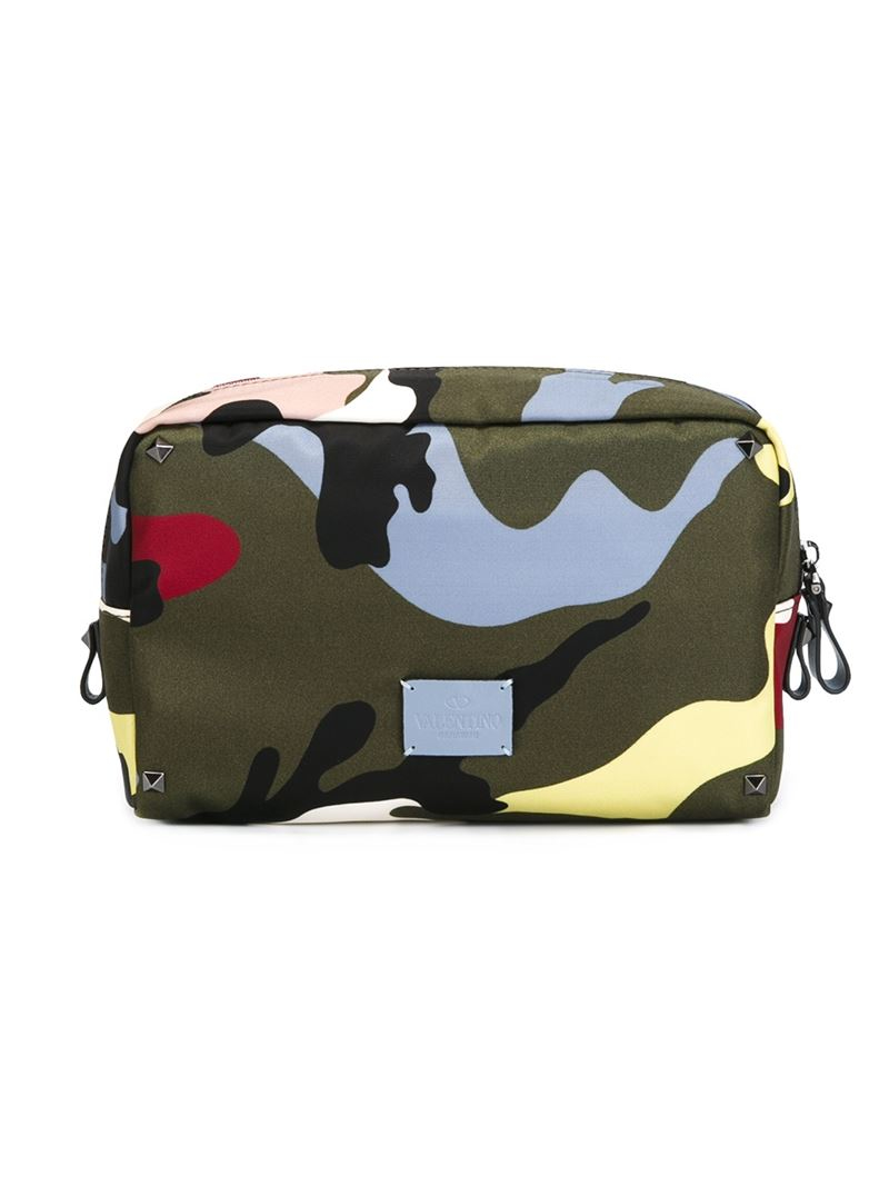 adfc4097282 Valentino Camouflage Wash Bag for Men - Lyst