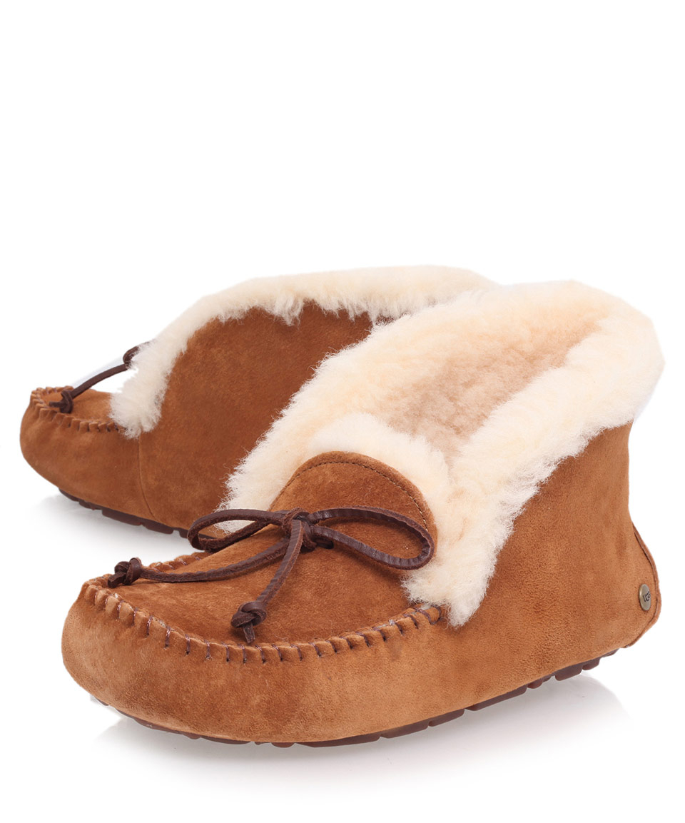 Lyst - Ugg Tan Alena Sheepskin Slipper Boots in Brown