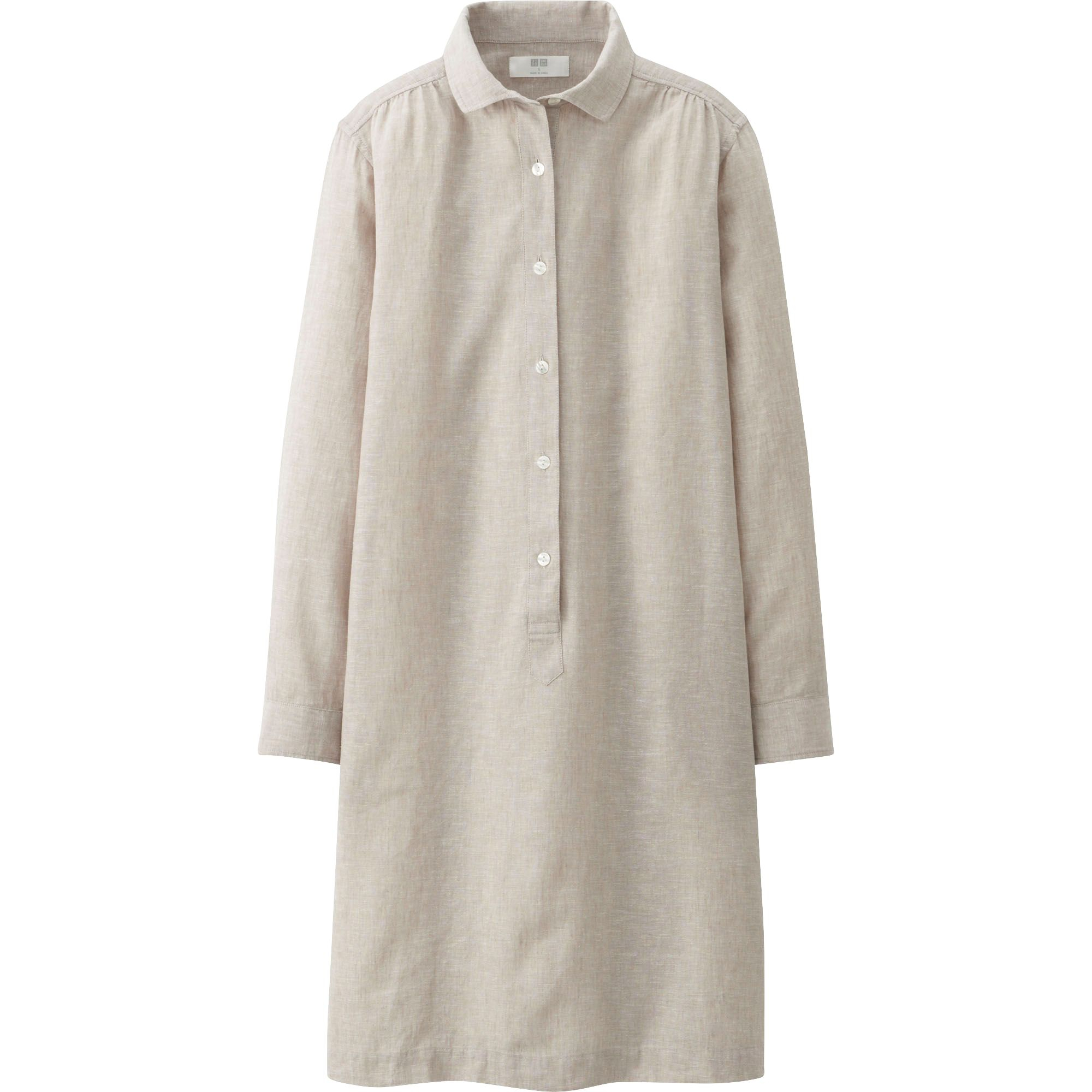 Uniqlo women linen cotton long sleeve shirt dress in beige Women s long sleeve shirt dress