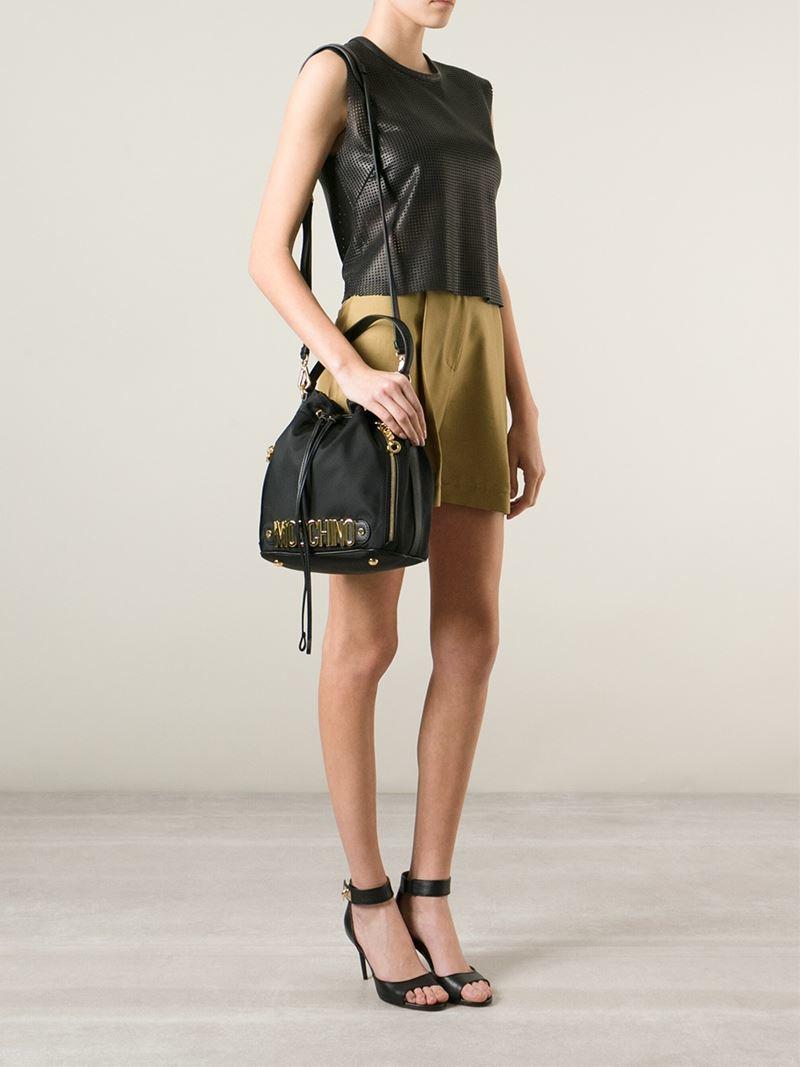 a003a65c8c9 Moschino Logo Bucket Shoulder Bag in Black - Lyst