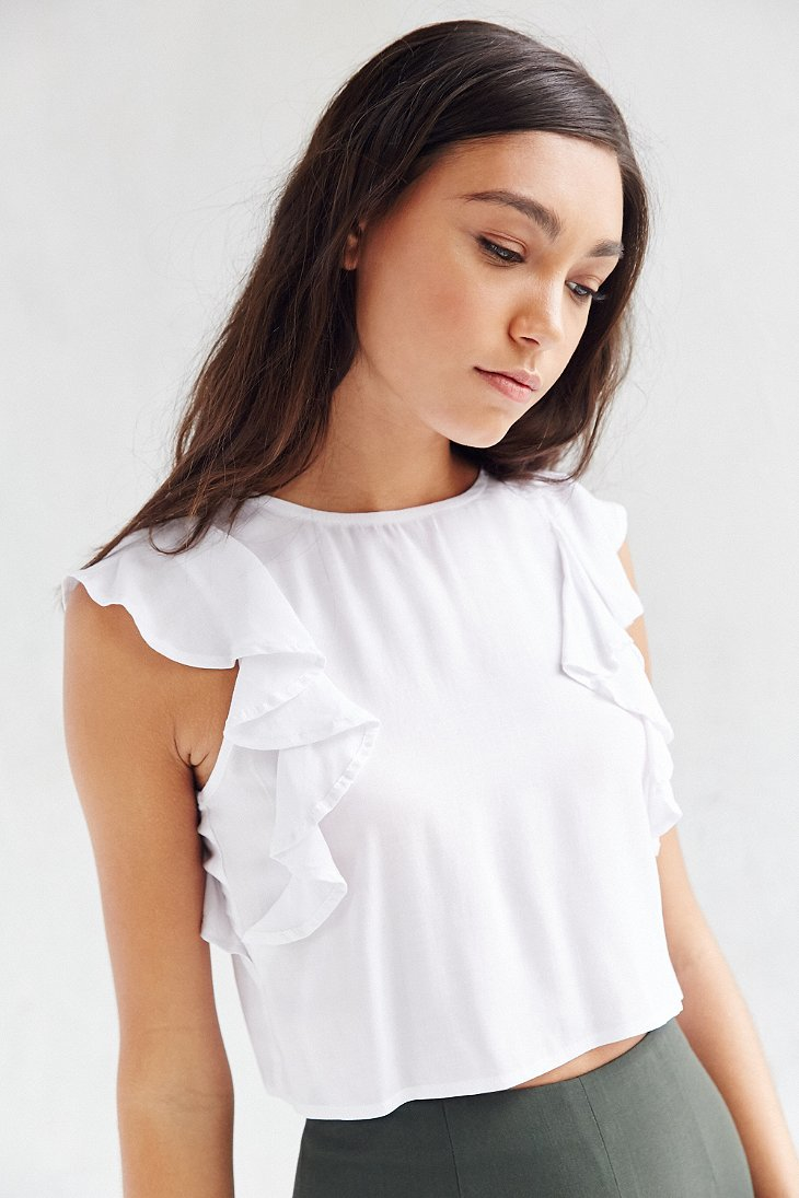 Lyst - Lucca Couture Ruffle Cap Sleeve Blouse in White 65f6eebc6