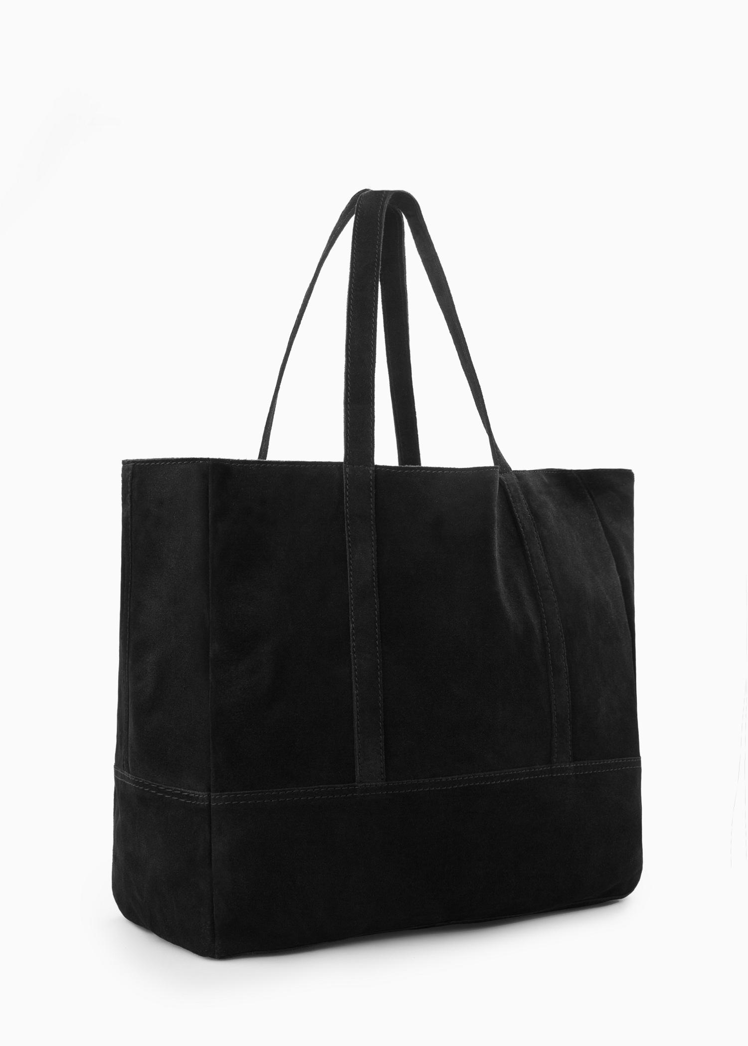 Mango Suede Shopper Bag in Black | Lyst