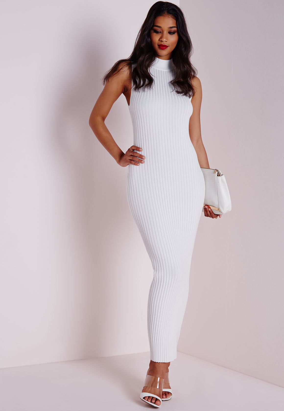 Lyst - Missguided Maxi Knitted Rib Dress White in White