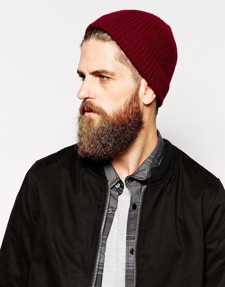 Lyst - ASOS Cashmere Beanie Hat in Red for Men 931ff47228a