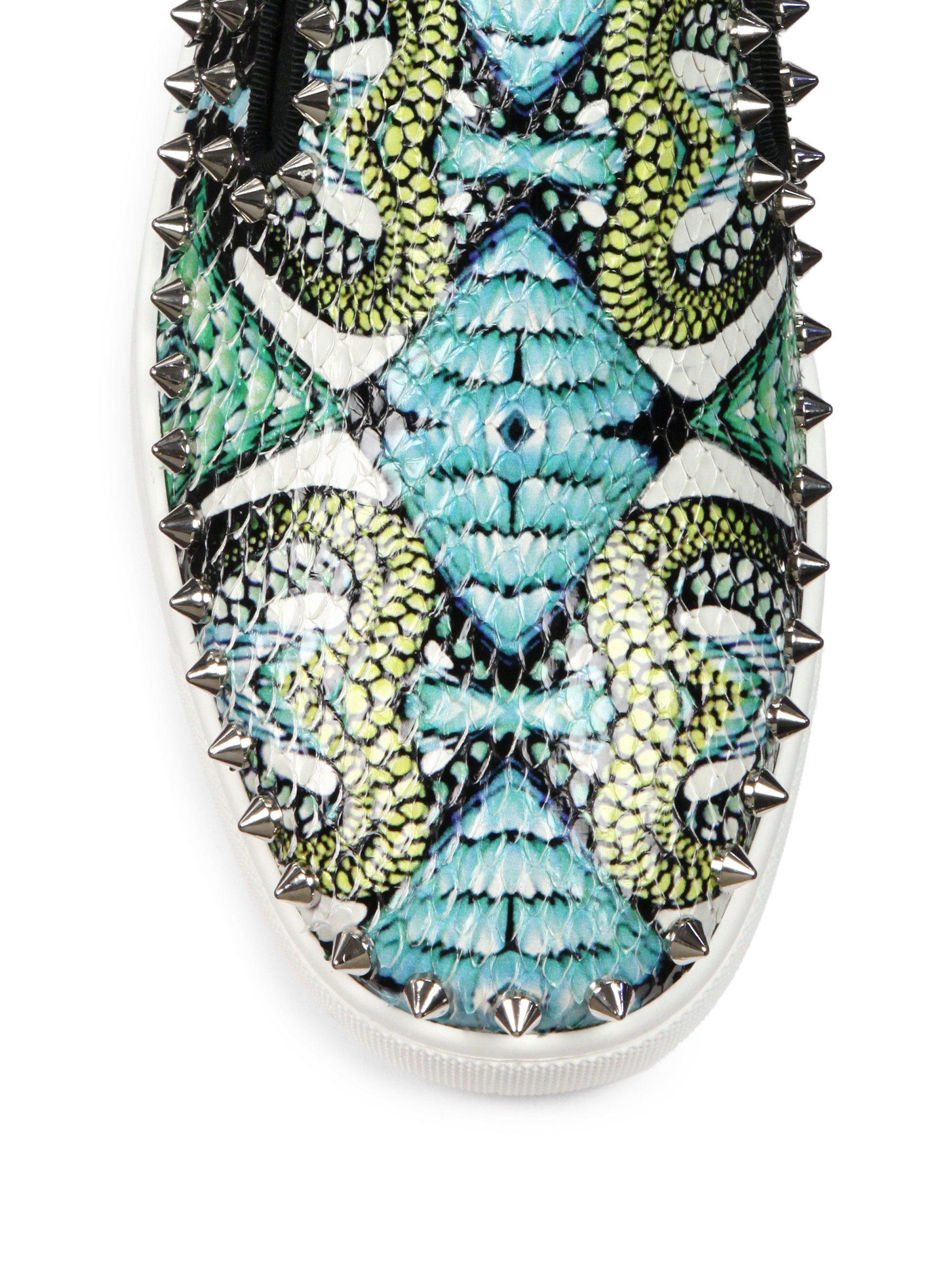 Christian louboutin Studded Printed Python Skate Sneakers in Blue ...