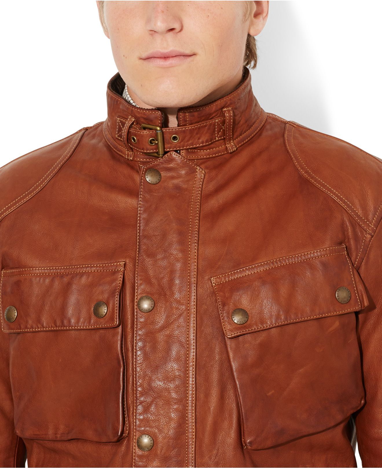 Lyst - Polo Ralph Lauren Southbury Leather Bike Jacket in Brown for Men 8ba97ebd94d74