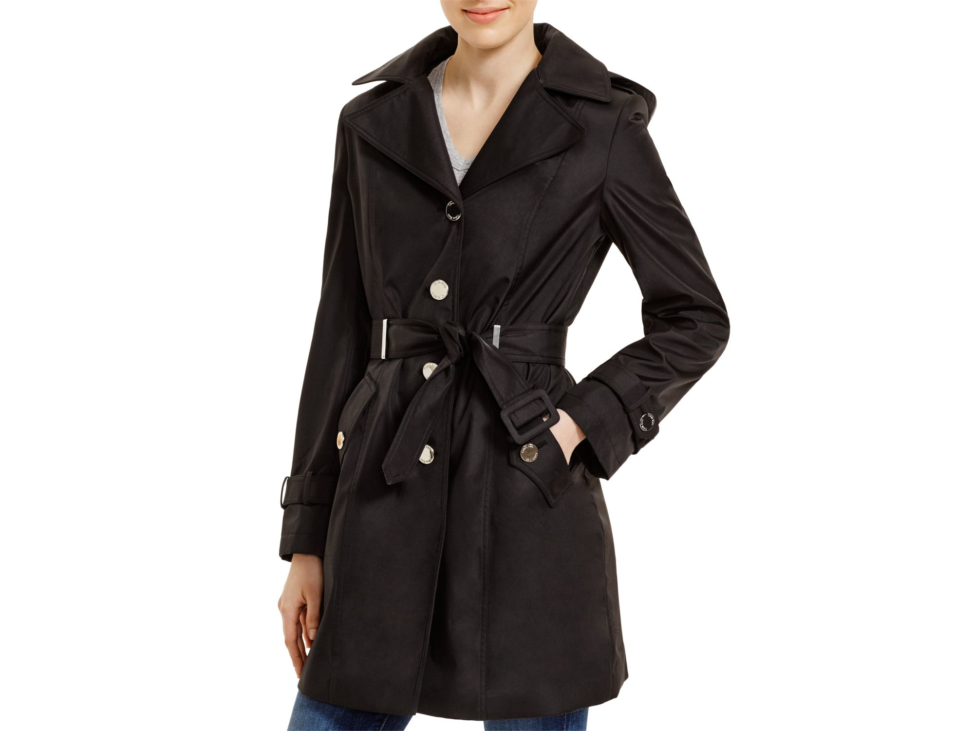 Calvin Klein Hooded Belted Trench Coat In Black Lyst