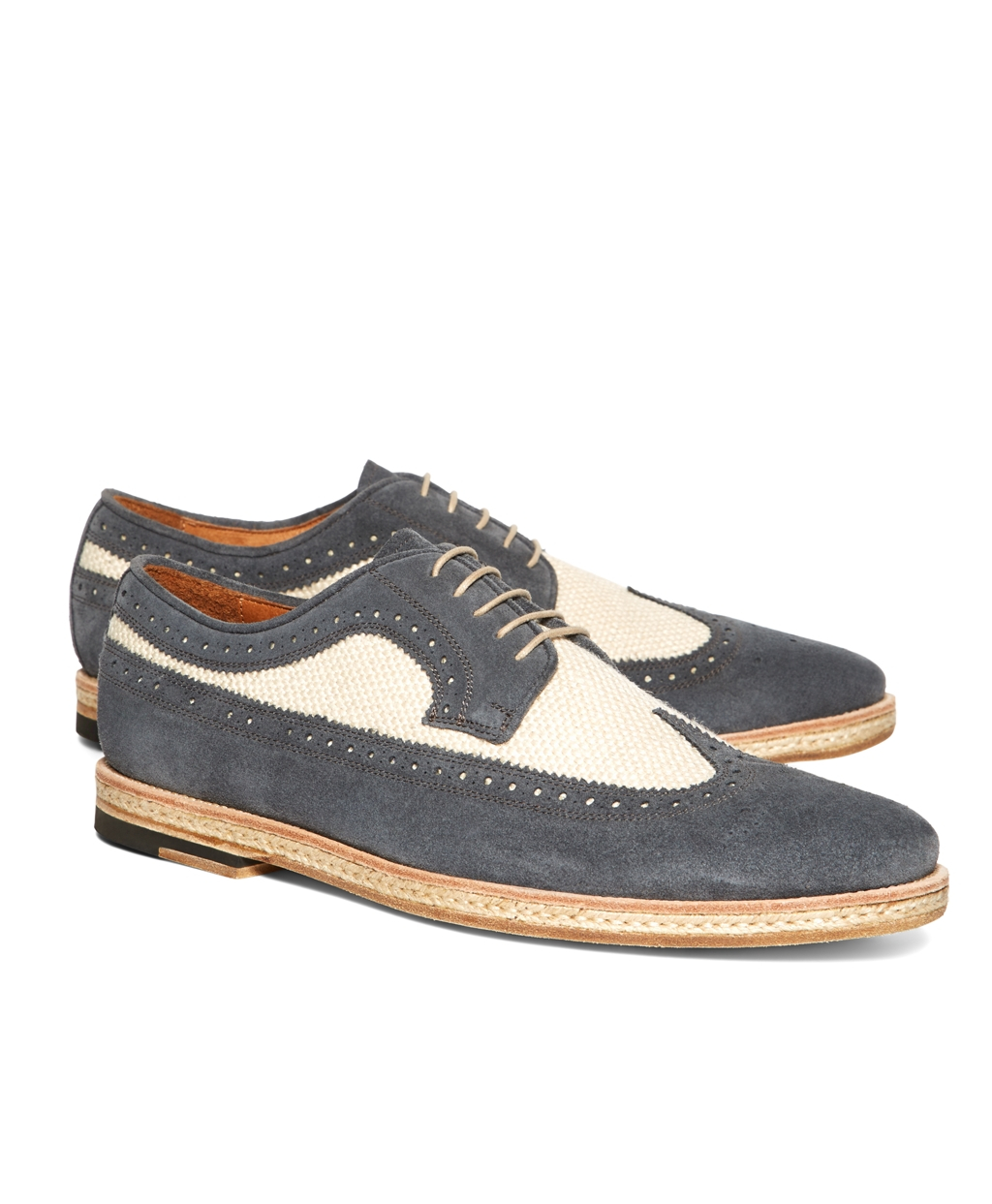 brooks brothers suede and canvas saddle wingtips in blue for men lyst. Black Bedroom Furniture Sets. Home Design Ideas
